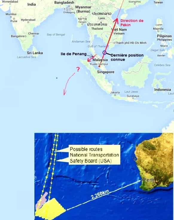 Carte des recherches du boeing de la Malaysia Airlines disparu en mer